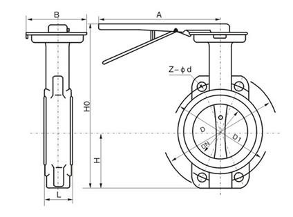 手动对夹式软密封蝶阀主要外形连接尺寸图片
